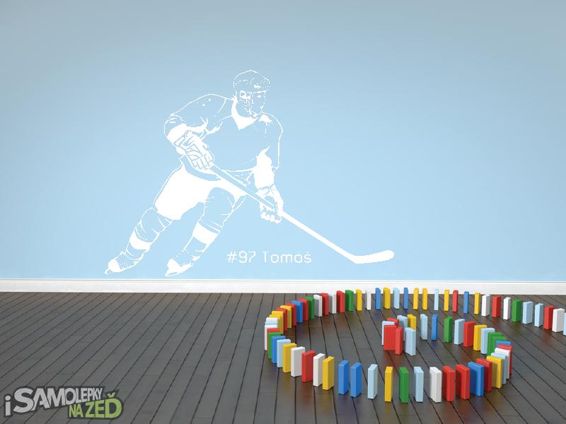 Dětské samolepky na zeď - Hokejista s vlastním jménem