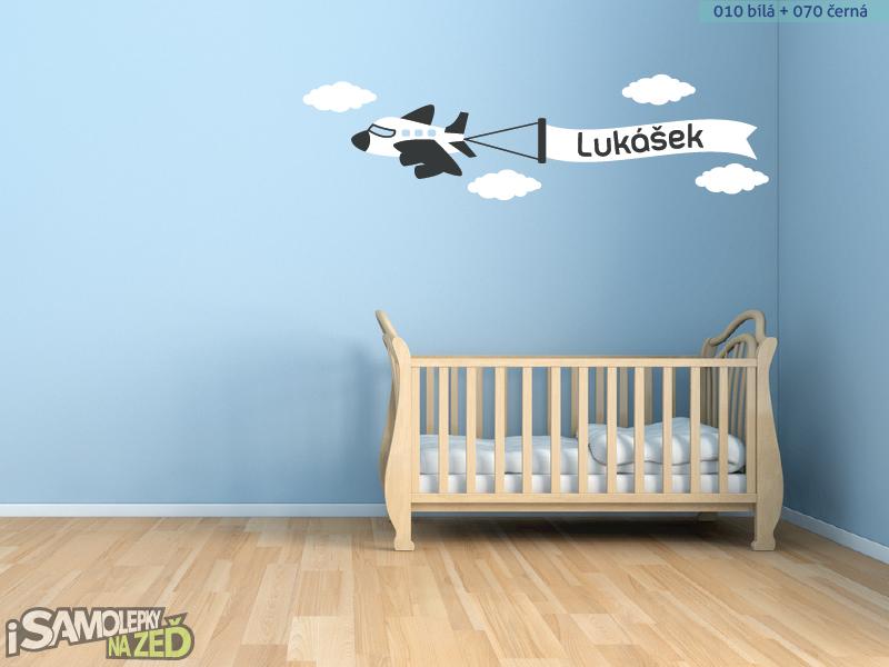 Dětské samolepky na zeď - Letadlo se jménem