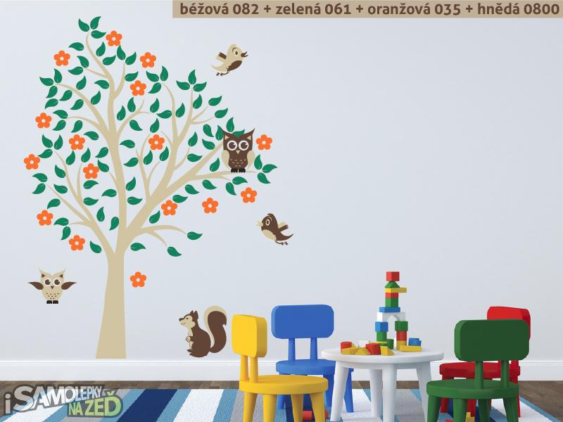 Dětské samolepky na zeď - Samolepka na zeď - Sovy na stromě