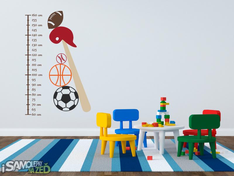 Dětské samolepky na zeď - Samolepka na zeď - Dětský metr sport