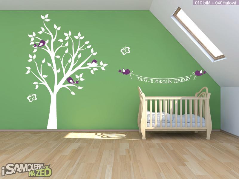 Dětské samolepky na zeď - Samolepka na zeď - Strom se jménem a ptáčky