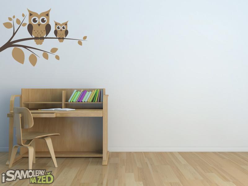 Dětské samolepky na zeď - Sovy na větvi v2