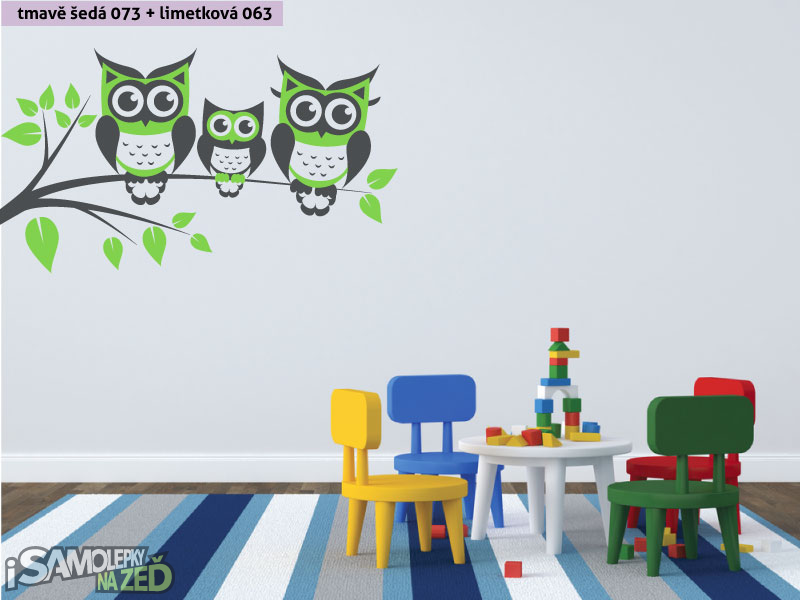 Dětské samolepky na zeď - Samolepka na zeď - Sovy na větvi