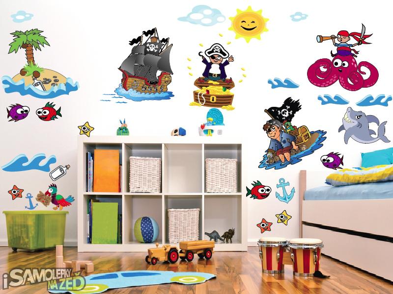 Dětské samolepky na zeď - Velká sada piráti
