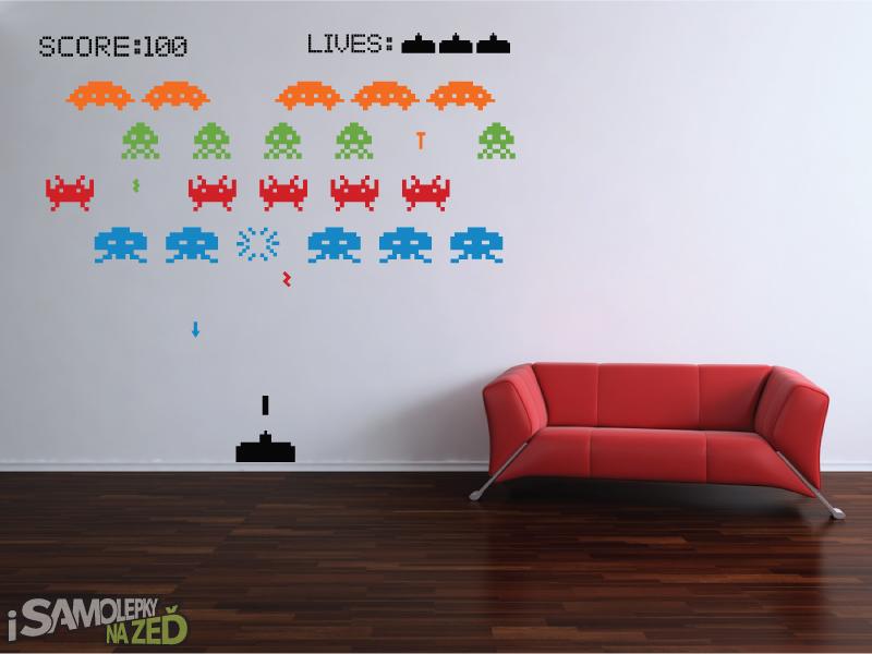 Dětské samolepky na zeď - Samolepka na zeď - Space invaders