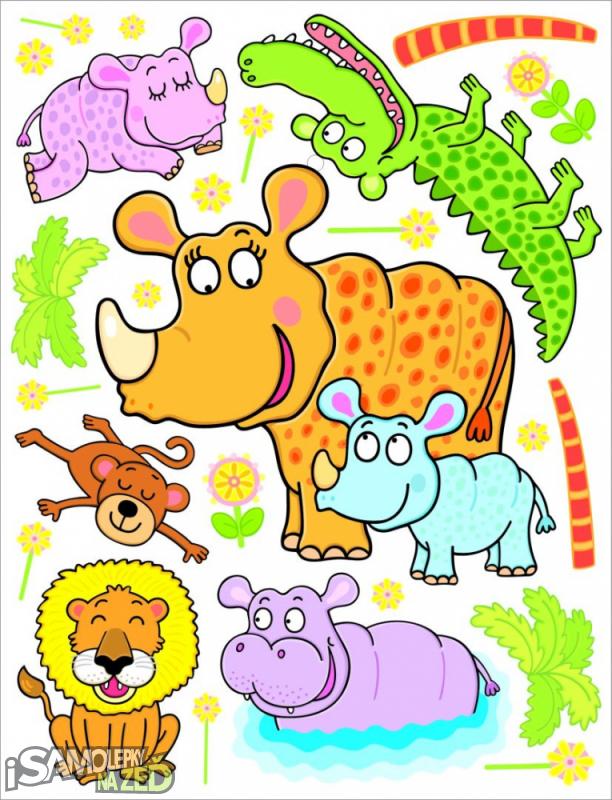 Dětské samolepky na zeď - Nosorožík a jeho velká rodina