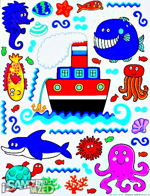 Dětské samolepky na zeď - Zvířátka v moři