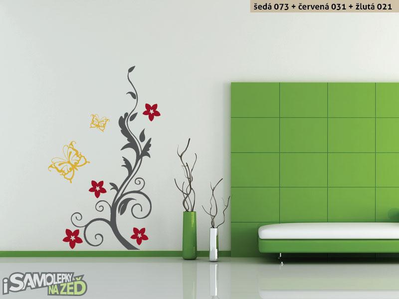Samolepky na zeď - Keř s motýlky