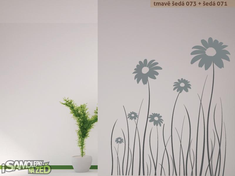 Samolepky na zeď - Samolepka na zeď - Luční květiny dvoubarevné