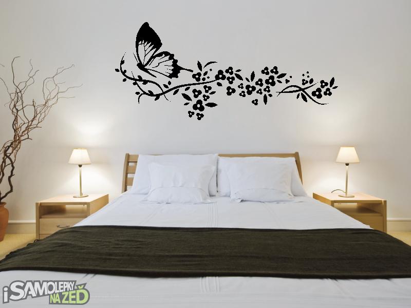 Samolepky na zeď - Samolepka na zeď - Motýl s květinou