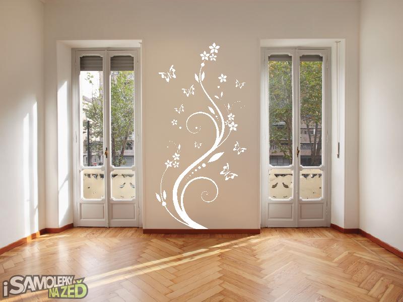 Samolepky na zeď - Samolepka na zeď - Pnoucí květina s motýlky