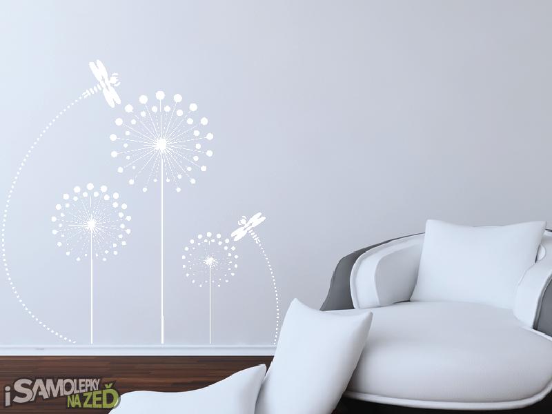 Samolepky na zeď - Pampelišky s vážkou