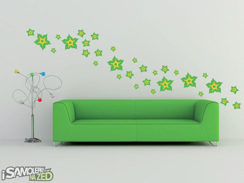 Samolepky na zeď - Samolepka na zeď - Květy dvoubarevné