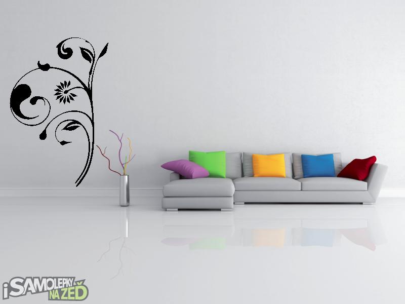 Samolepky na zeď - Samolepka na zeď - Vysoký květinový motiv 1