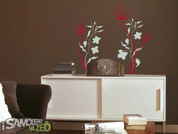 Samolepky na zeď - Siluety lučních květů