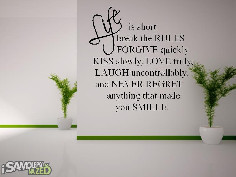 Samolepky na zeď - Samolepka na zeď - Life is short