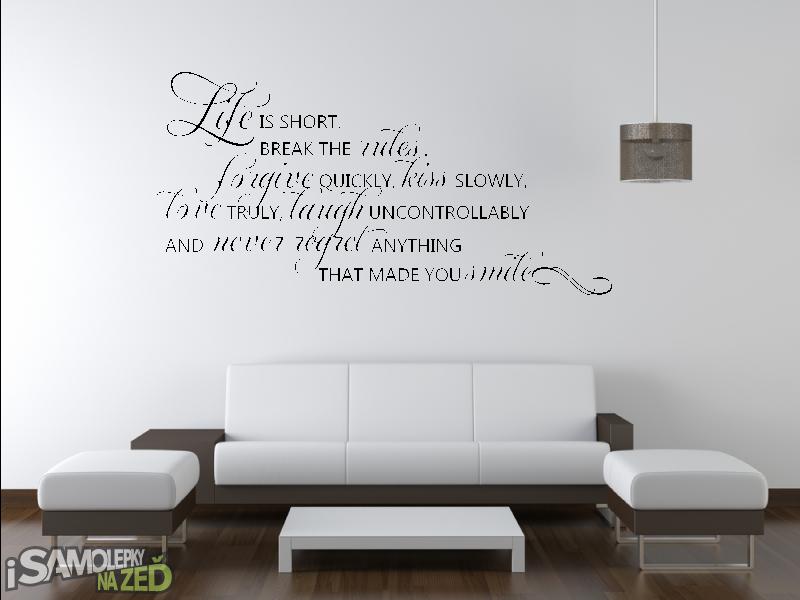 Samolepky na zeď - Samolepka na zeď - Life is short v1