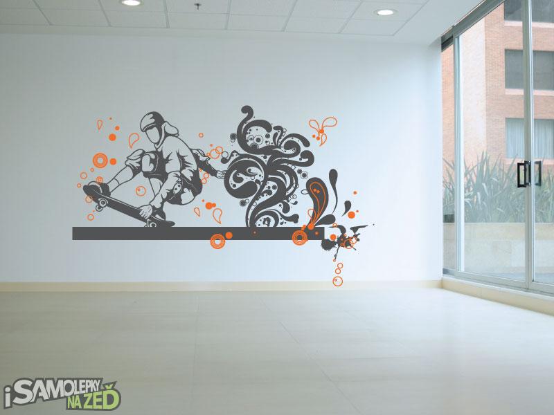 Samolepky na zeď - Samolepka na zeď - Skater barevný