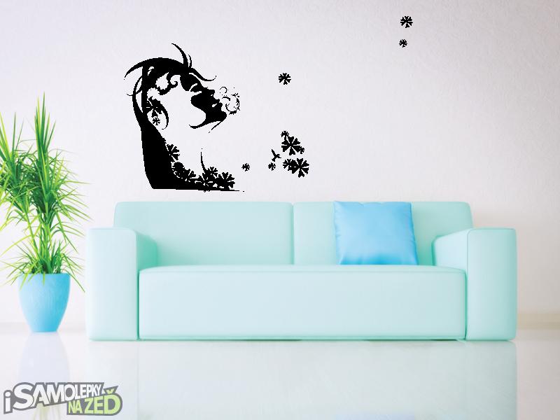 Samolepky na zeď - Samolepka na zeď - Zasněná dívka