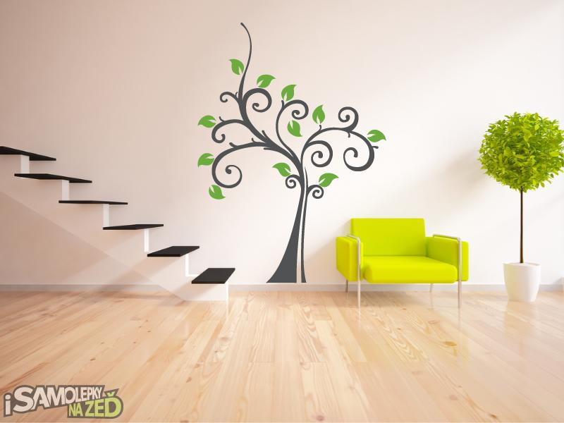 Samolepky na zeď - Kudrnatý strom