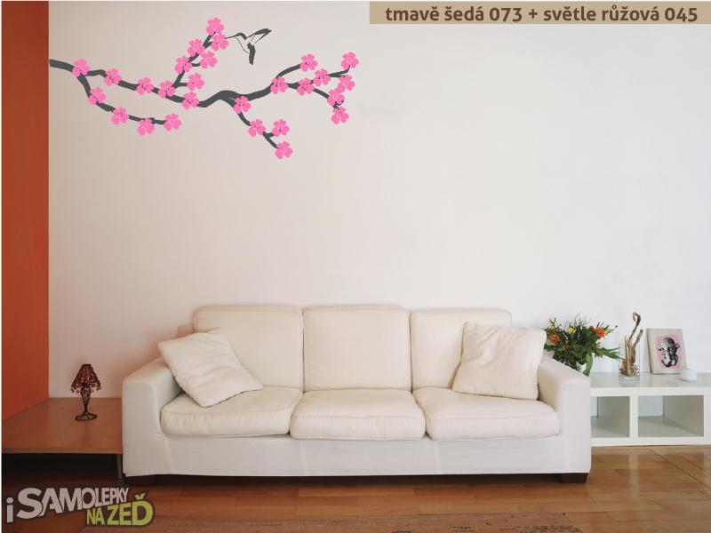 Samolepky na zeď - Samolepka na zeď - Rozkvetlá větev