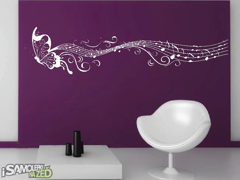 Samolepky na zeď - Samolepka na zeď - Motýlí ornament s notami