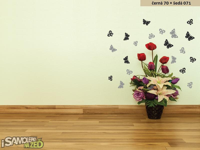 Samolepky na zeď - Dvoubarevní motýlci