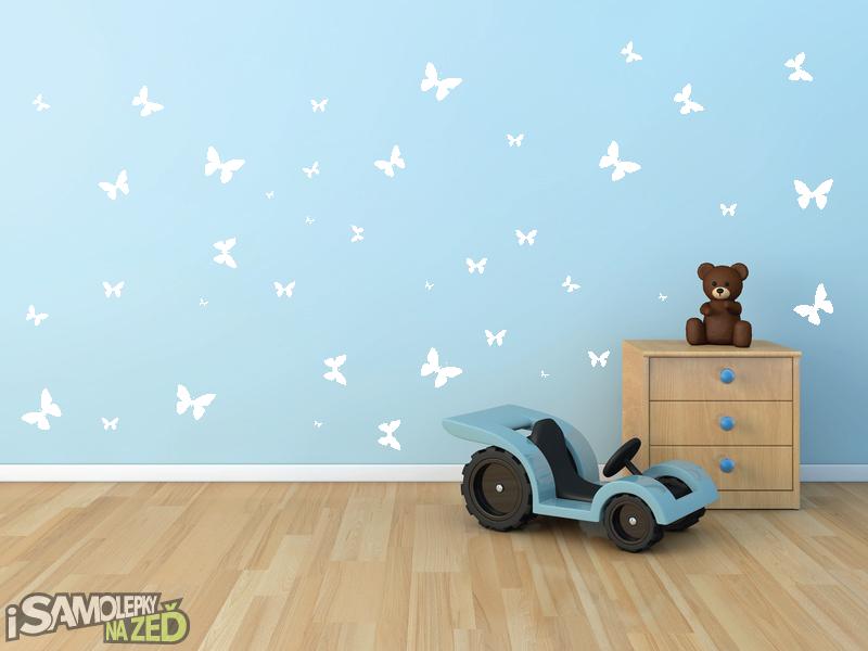 Samolepky na zeď - Sada motýlků