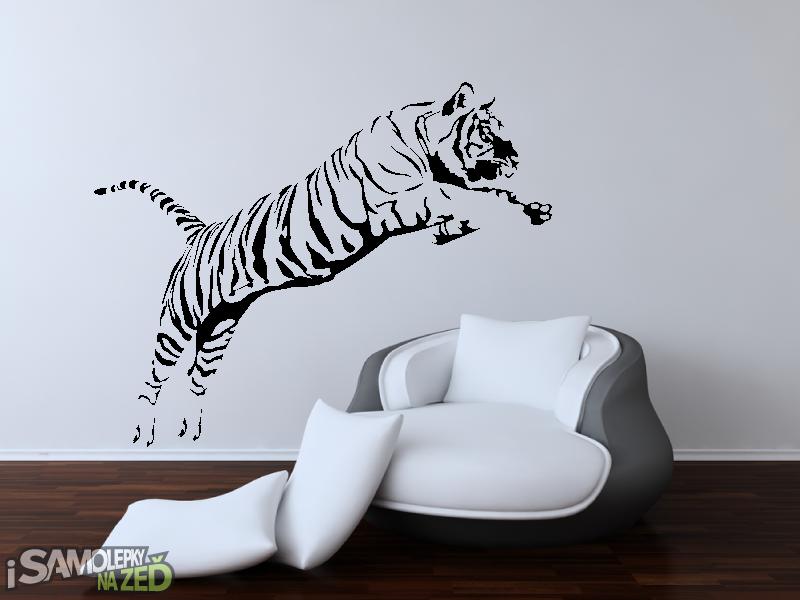 Samolepky na zeď - Samolepka na zeď - Tygr ve skoku