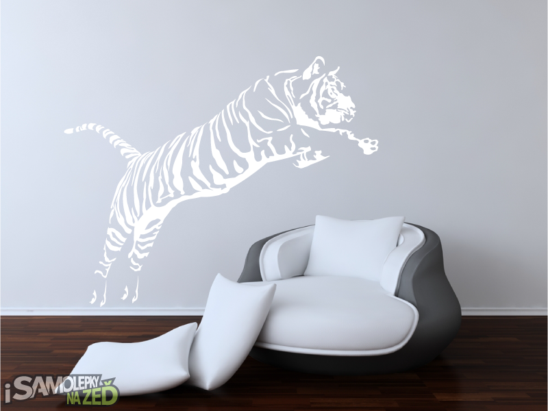 Samolepky na zeď - Tygr ve skoku