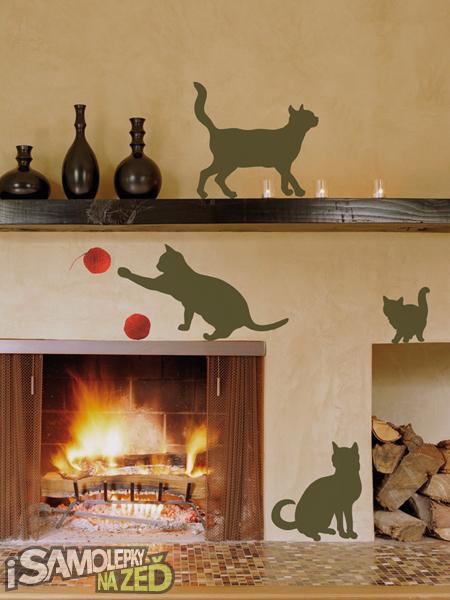 Samolepky na zeď - Kočky s klubíčkem