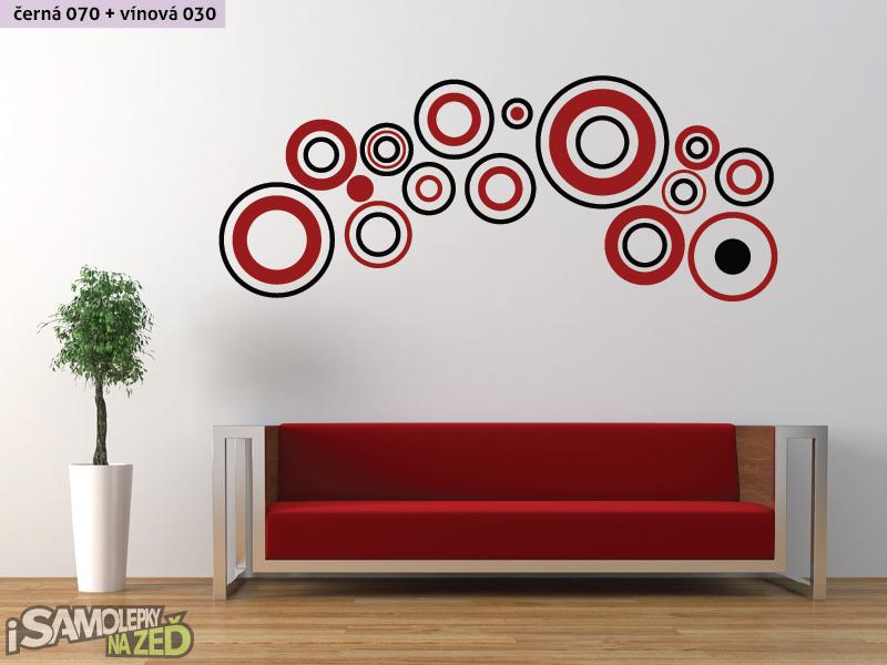 Samolepky na zeď - Dvoubarevné kruhy