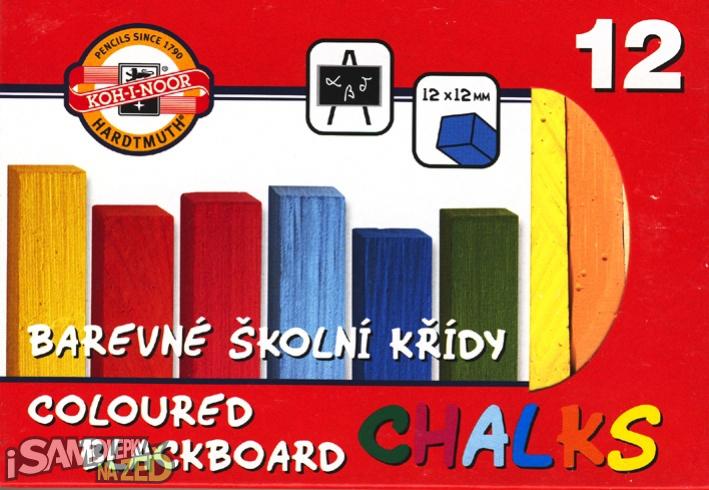 Samolepící tabule - Křídy barevné 12 ks