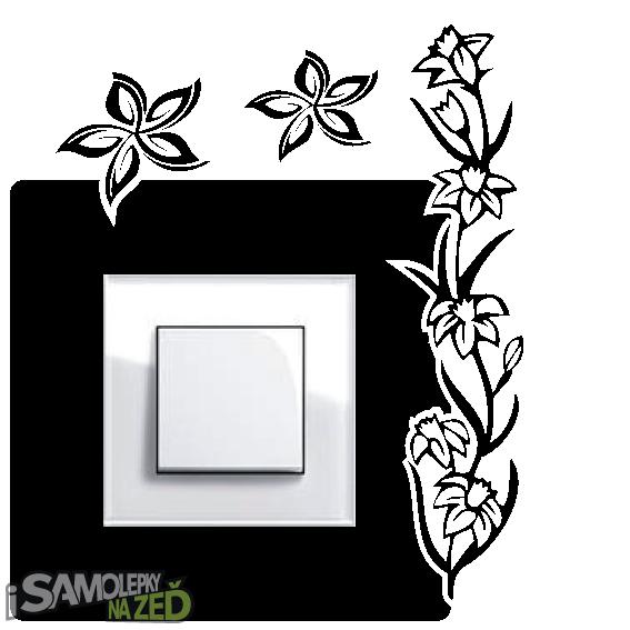 Samolepky pod vypínače - Samolepka pod vypínač - Květinky v2