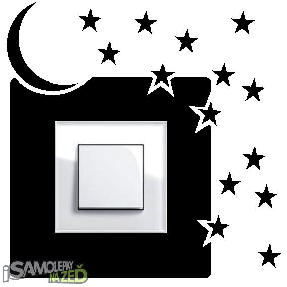Samolepky pod vypínače - Samolepka pod vypínač - Noční obloha