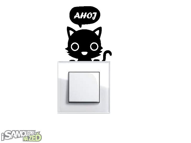 Samolepky pod vypínače - Samolepka pod vypínač - Kočička