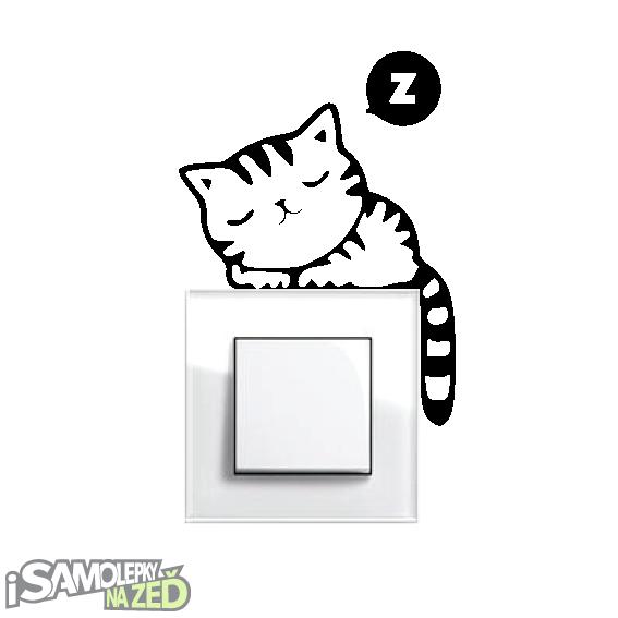 Samolepky pod vypínače - Samolepka pod vypínač - Spící kočka