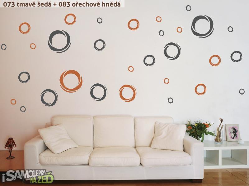 Samolepky na zeď - Samolepka na zeď - Moderní kruhy dvoubarevné