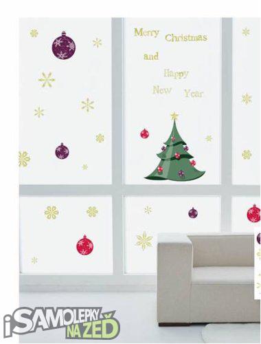 Samolepky na zeď - Vánoční samolepka na okna - Vánoční stromeček