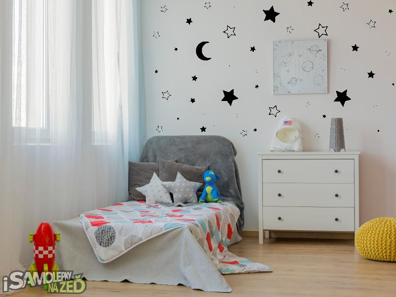 Dětské samolepky na zeď - Samolepka na zeď - Měsíc a hvězdy