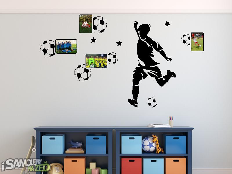 Dětské samolepky na zeď - Fotbalista s fotorámečky