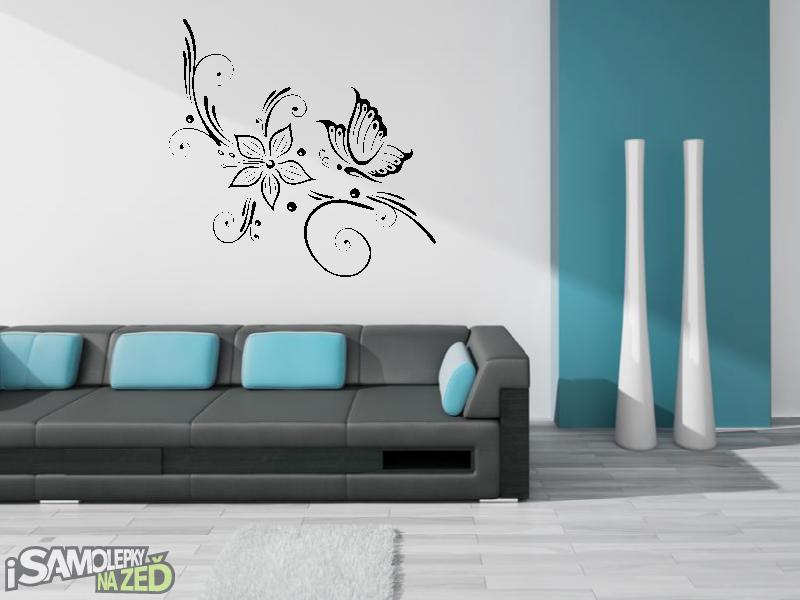 Samolepky na zeď - Samolepka na zeď - Motýl s květem