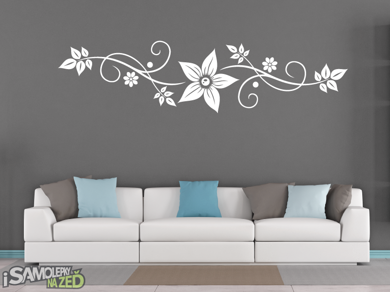 Samolepky na zeď - Samolepky na zeď - Ornament s květem