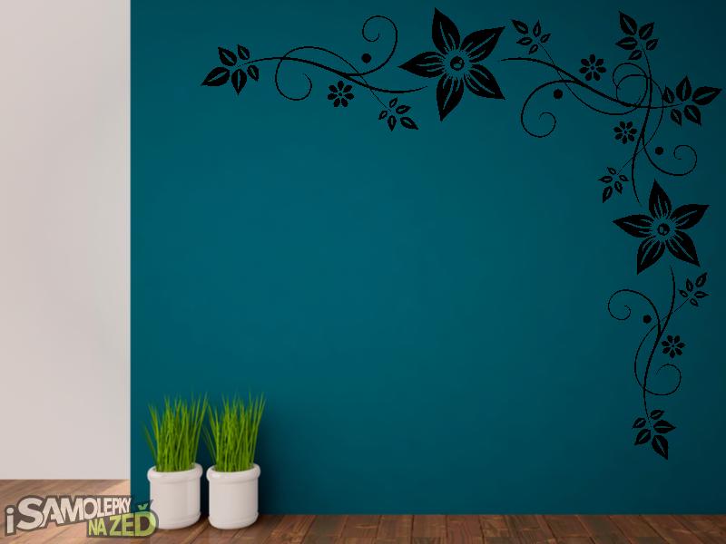 Samolepky na zeď - Samolepky na zeď - Ornament s květy
