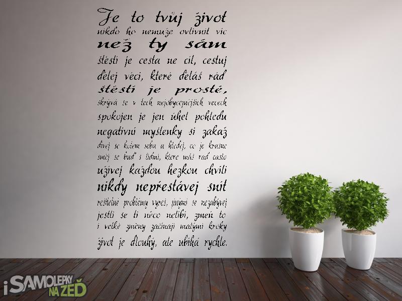 Samolepky na zeď - Samolepka na zeď - Je to tvůj život V2
