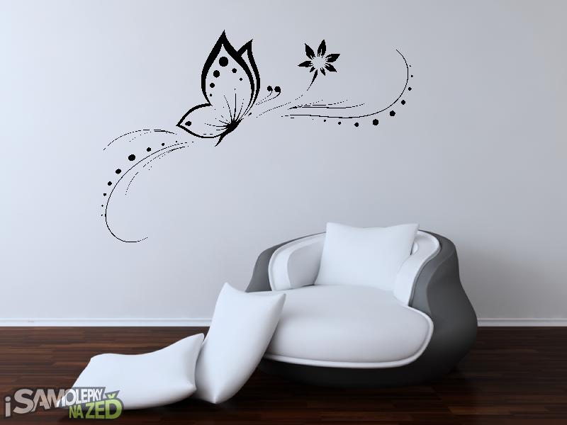 Samolepky na zeď - Samolepka na zeď - Motýl s větvičkou