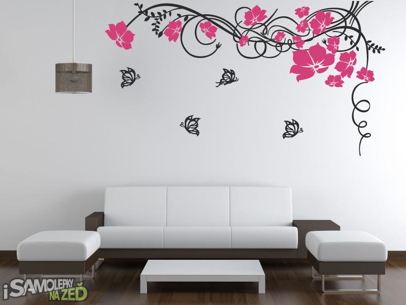 Samolepky na zeď - Samolepka na zeď - Ornament s motýlky dvoubarevný