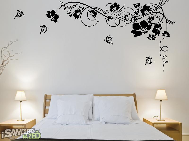 Samolepky na zeď - Samolepka na zeď - Květinový ornament s motýlky