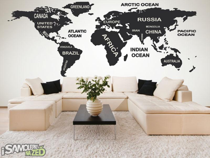 Samolepky na zeď - Samolepka na zeď - Mapa světa s popisky