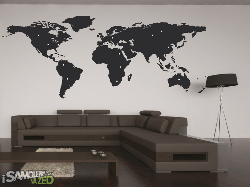 Samolepky na zeď - Samolepka na zeď - Mapa světa